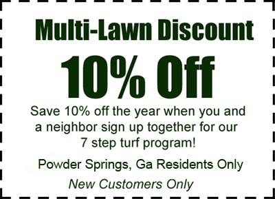 Sign up for Powder Springs, Ga Lawn Care with a neighbor and save 10%!